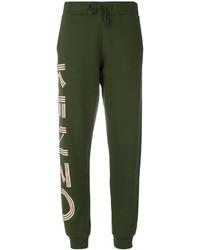 Pantalón de chándal de cuero estampado verde oscuro de Kenzo
