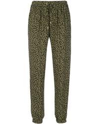 Pantalón de chándal de seda estampado verde oliva de MICHAEL Michael Kors