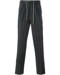 Pantalon de costume en laine à rayures verticales gris foncé Brunello Cucinelli
