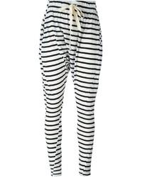 Pantalon de jogging à rayures horizontales blanc et noir Bassike