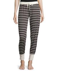 Pantalon de jogging à rayures horizontales blanc et noir
