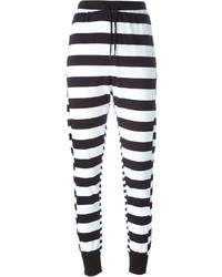 Pantalon de jogging à rayures horizontales blanc et noir Y-3