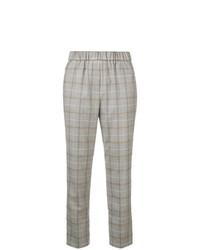 Pantalón de pinzas a cuadros gris de Peserico