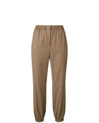 Pantalón de pinzas a cuadros marrón de Twin-Set