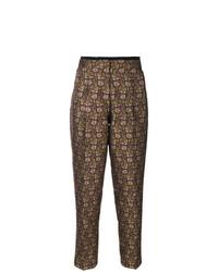 Pantalón de pinzas con print de flores marrón de Etro