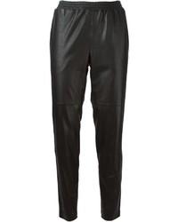 Pantalón de pinzas de cuero negro