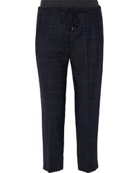 Pantalón de Pinzas de Lana a Cuadros Azul Marino de Brunello Cucinelli