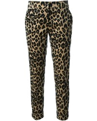 Pantalón de pinzas de leopardo marrón claro de Etro