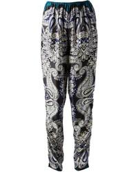 Pantalón de pinzas de paisley en gris oscuro de Lanvin