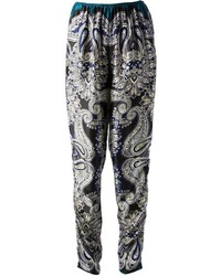 Pantalón de Pinzas de Paisley Gris Oscuro de Lanvin