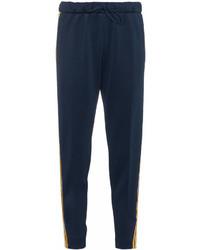 Pantalón de pinzas de rayas verticales azul marino de Mira Mikati