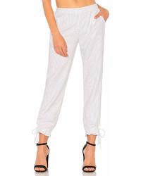 Pantalón de pinzas de rayas verticales blanco