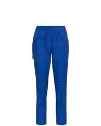 Pantalón de pinzas de seda azul de Ronald Van Der Kemp