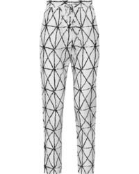Pantalón de pinzas estampado blanco