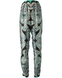 Pantalón de Pinzas Estampado Verde Oscuro de Lanvin