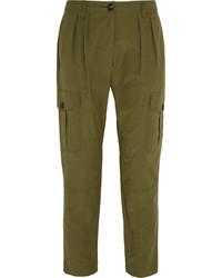 Pantalón de pinzas plisado verde oliva de Burberry