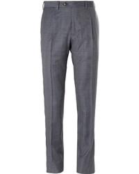 Pantalón de vestir de lana a cuadros gris de Brioni
