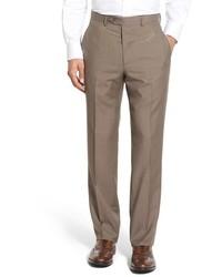 Pantalón de vestir de lana a cuadros marrón de Santorelli