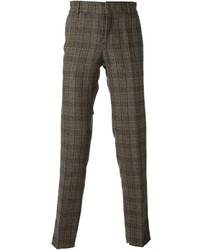 Pantalón de vestir de lana de cuadro vichy marrón