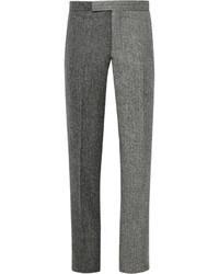 Pantalón de vestir de lana de espiguilla en gris oscuro