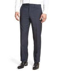 Pantalón de vestir de lana de tartán azul marino de JB Britches