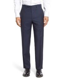 Pantalón de vestir de lana de tartán azul marino de Santorelli