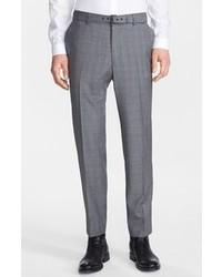 Pantalón de vestir de lana de tartán gris de The Kooples