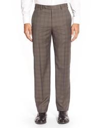 Pantalón de vestir de lana de tartán marrón de Zanella