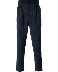 Pantalón de vestir de rayas verticales azul marino de Paolo Pecora
