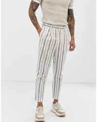 Pantalón de vestir de rayas verticales blanco