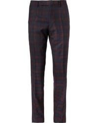 Pantalón de vestir de tartán azul marino de Alfred Dunhill