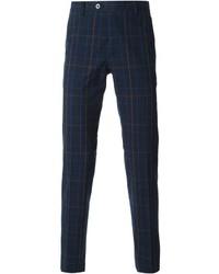 Pantalón de vestir de tartán azul marino de Etro