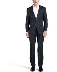 Pantalón de vestir de tartán azul marino de Hugo Boss