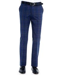 Pantalón de vestir de tartán azul de Etro