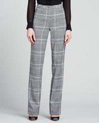 Pantalón de vestir de tartán gris de Escada