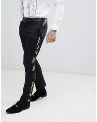Pantalón de vestir estampado negro
