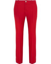 Pantalon flare en laine rouge Gucci