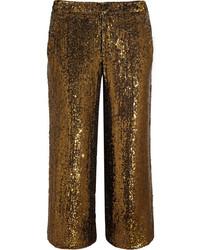 Pantalon large pailleté doré J.Crew