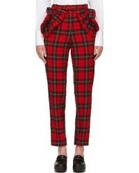 Pantalon slim écossais rouge
