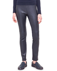 Pantalon slim en cuir bleu marine Akris Punto