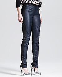 Pantalon slim en cuir bleu marine Derek Lam