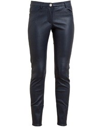 Pantalon slim en cuir bleu marine House of Holland