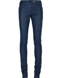 Pantalon slim en cuir bleu marine Preen Line