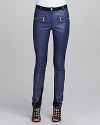 Pantalon slim en cuir bleu marine Rebecca Minkoff