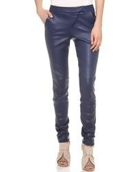 Pantalon slim en cuir bleu marine Zero Maria Cornejo
