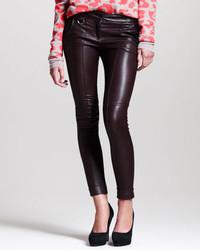 Pantalon slim en cuir noir A.L.C.