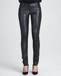 Pantalon slim en cuir noir Alice + Olivia