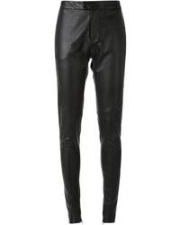 Pantalon slim en cuir noir Bassike