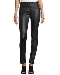 Pantalon slim en cuir noir Diane von Furstenberg