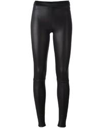 Pantalon slim en cuir noir Drome